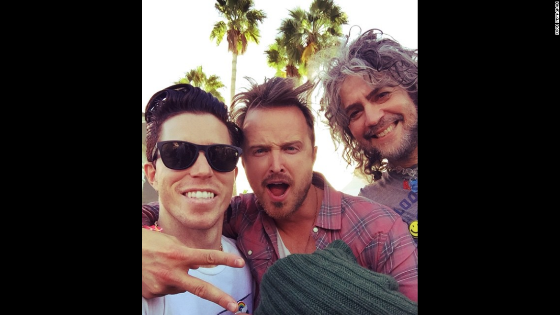 "Olympic gold medalist Shaun White poses with ""Breaking Bad"" actor Aaron Paul and Flaming Lips lead singer Wayne Coyne at Coachella, <a href=""https://instagram.com/p/2Jg_5qvQRO/"" target=""_blank"">in this selfie posted to Instagram</a> on Friday, May 1."