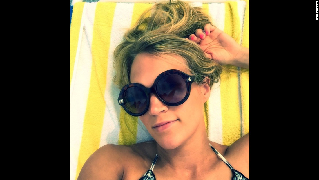 """Vacation selfie. #IKnowImLame,"" singer Carrie Underwood<a href=""https://instagram.com/p/2Tt7OuLquo/"" target=""_blank""> said on Instagram</a> on Tuesday, May 5."