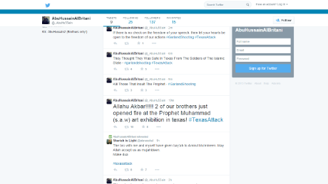 Tweets that appear to be between Simpson and Abu Hussain al Britani