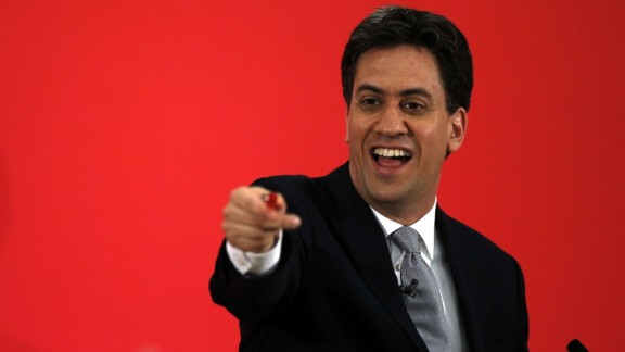 Opposition Labour Party Leader Ed Miliband speaks at a campaign event in Kempston near Bedford on May 5, 2015. Britain