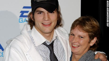 "Ashton Kutcher and mom Diane attend the ""EA Games"" on November 07, 2002 in Los Angeles, California."
