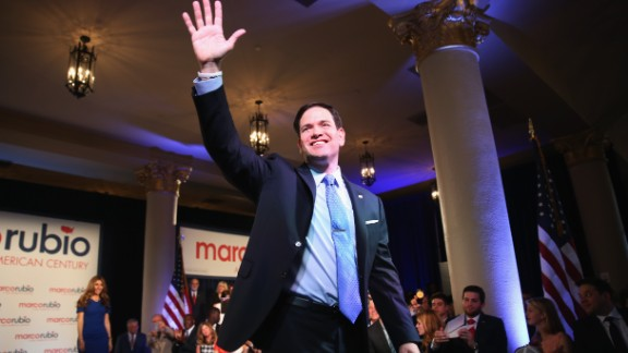 U.S. Sen. Marco Rubio (R-FL) waves to supporters after announcing his candidacy for the Republican presidential nomination during an event at the Freedom Tower on April 13, 2015 in Miami, Florida. Rubio is one of three Republican candidates to announce their plans on running against the Democratic challenger for the White House.