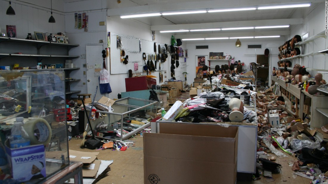 Most of the store's merchandise was looted during the rioting.