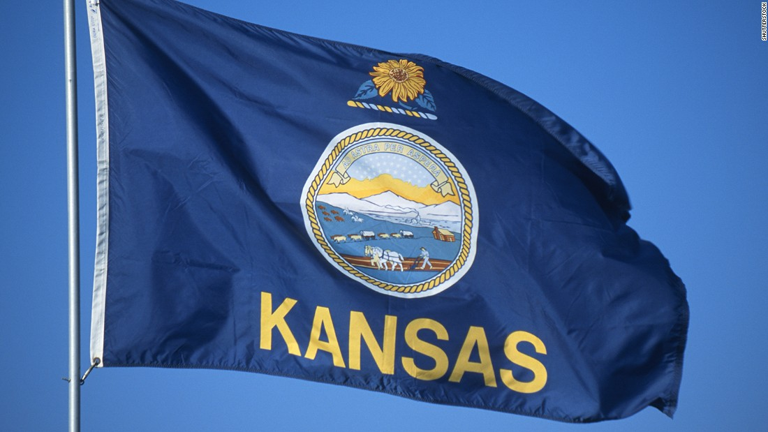 "<strong>The Worst</strong> -- 48. Kansas:<br />""Since the seal by itself fails to identify the state at any distance, Kansas added its name to the flag. Ironically, the existing 'state banner' -- a sunflower on a blue field --  would prove an outstanding replacement."" -- Ted Kaye, author of ""Good Flag, Bad Flag"""