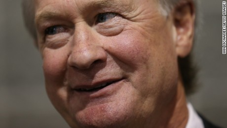 Potential Democratic presidential candidate former Sen. Lincoln Chafee (D-RI) answers questions from reporters after speaking at the South Carolina Democratic Party state convention April 25, 2015 in Columbia, South Carolina.