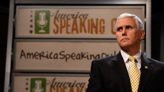 "Pence introduces the Republican Party's new ""America Speaking Out"" campaign, which aims to engage Americans and give them a voice in creating a new agenda for Congress, at the Newseum in Washington on May 25, 2010."