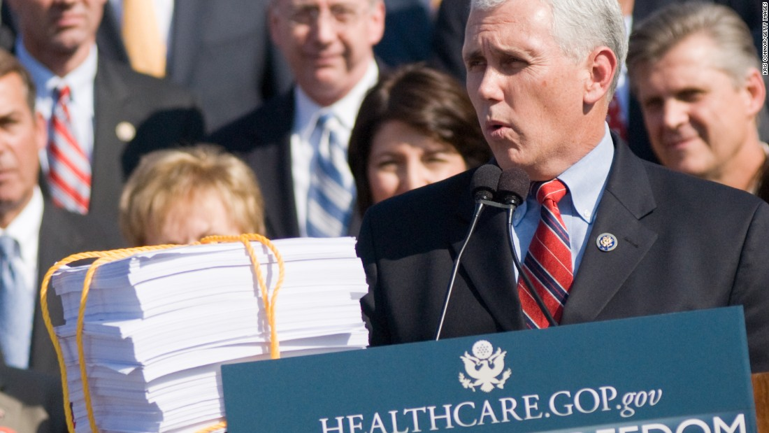Pence speaks against health care reform at a news conference at the Capitol on November 5, 2009.