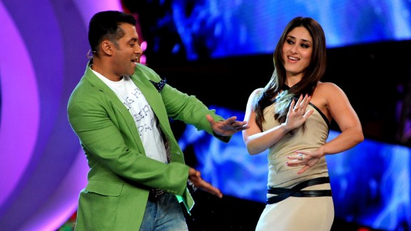 """Khan performs a song with Bollywood actress Kareena Kapoor on the set of a television show during the promotion of their Hindi film """"Dabbang 2."""""""