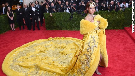 Rihanna arrives at the 2015 Metropolitan Museum of Art's Costume Institute Gala benefit in honor of the museums latest exhibit China: Through the Looking Glass May 4, 2015 in New York.