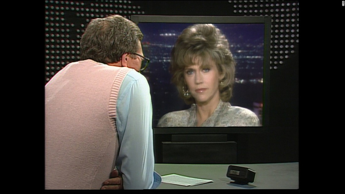 Here, Larry King conducts a 1986 interview with Jane Fonda.