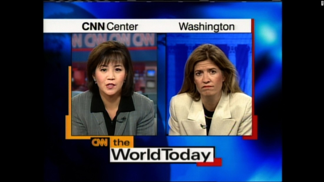 "Joie Chen and Greta Van Susteren report from Atlanta and Washington in a 1998 broadcast of ""The World Today."""