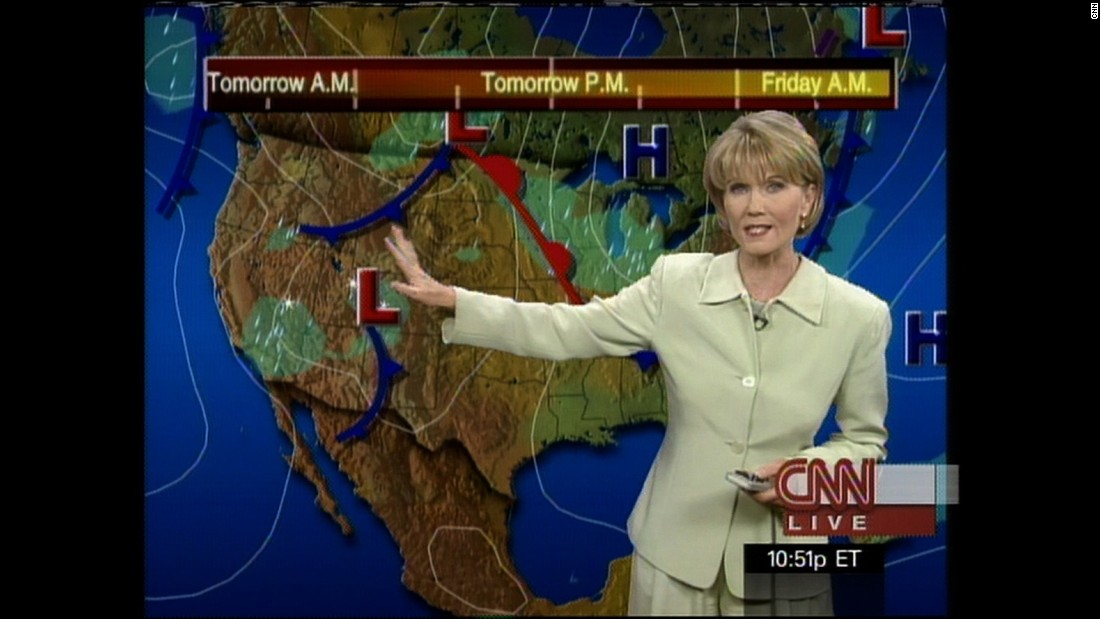 Karen Maginnis provides an update on the weather in this 1999 newscast.