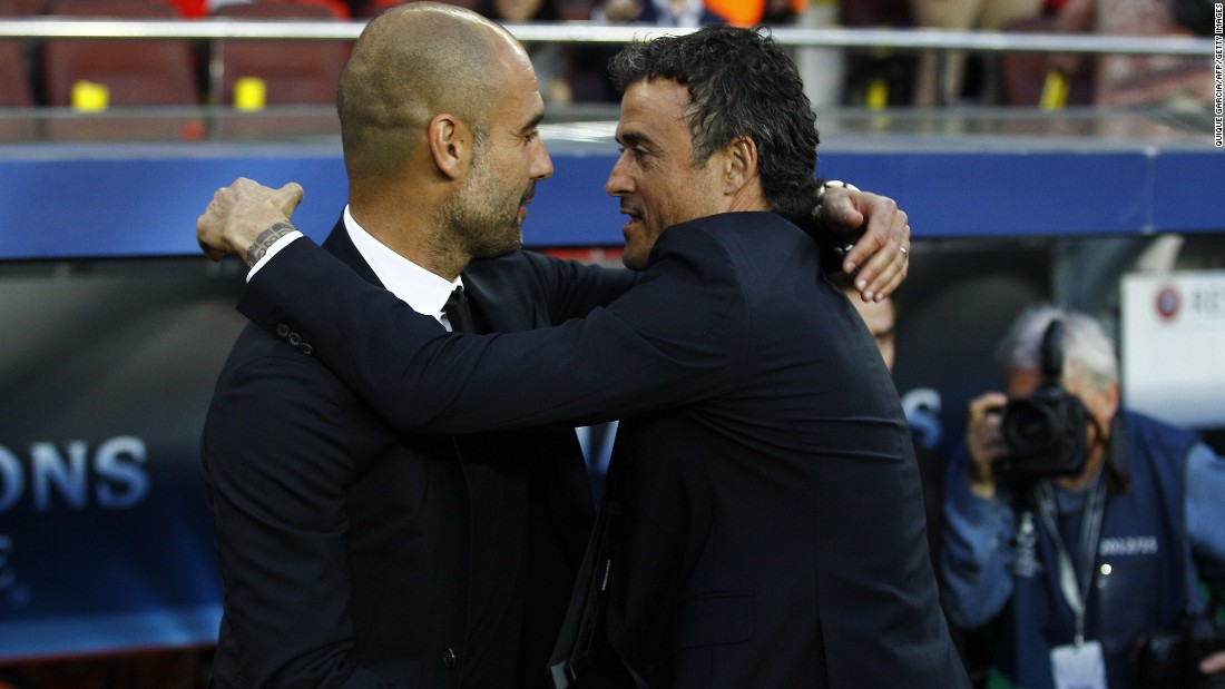 Bayern Munich's Spanish head coach Pep Guardiola (L) and Barcelona's coach Luis Enrique greet each other before the UEFA Champions League football match FC Barcelona vs FC Bayern Muenchen at the Camp Nou stadium in Barcelona on May 6, 2015.