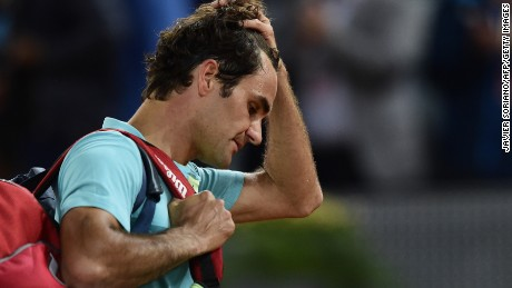 Swiss tennis player Roger Federer reacts after loosing against Australian tennis player Nick Kyrgios during the Madrid Open.