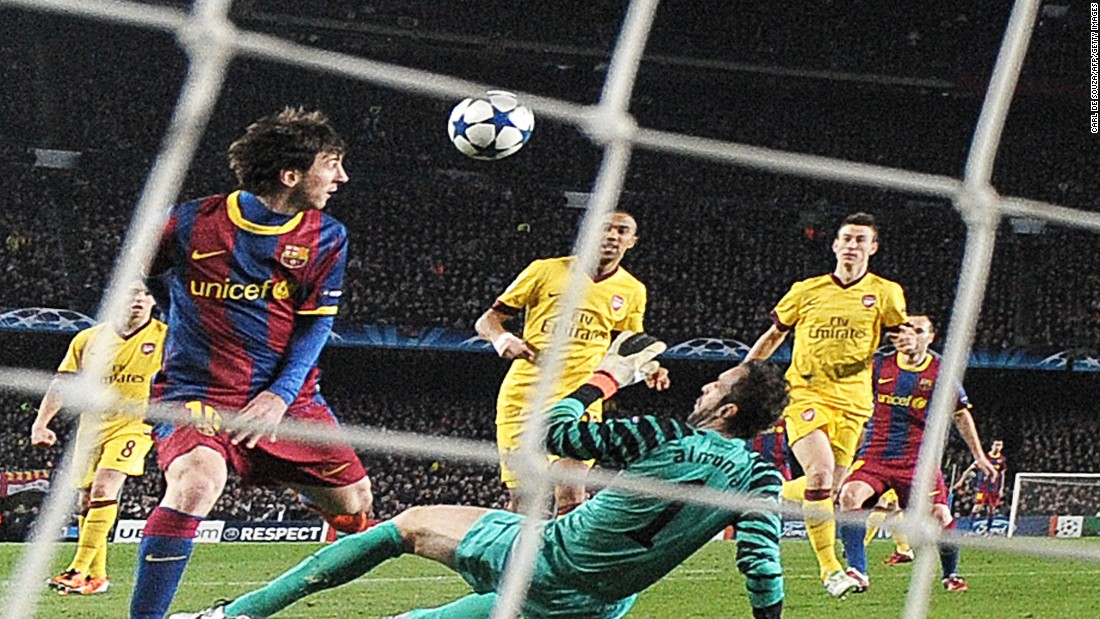 Arsenal must have been sick of the sight of Messi after the two teams met again in 2011. Messi scored twice in a 3-1 win, including a wonderfully worked first half strike which came after he chipped the ball over Manuel Almunia, the Arsenal goalkeeper, and volleyed home from close range.