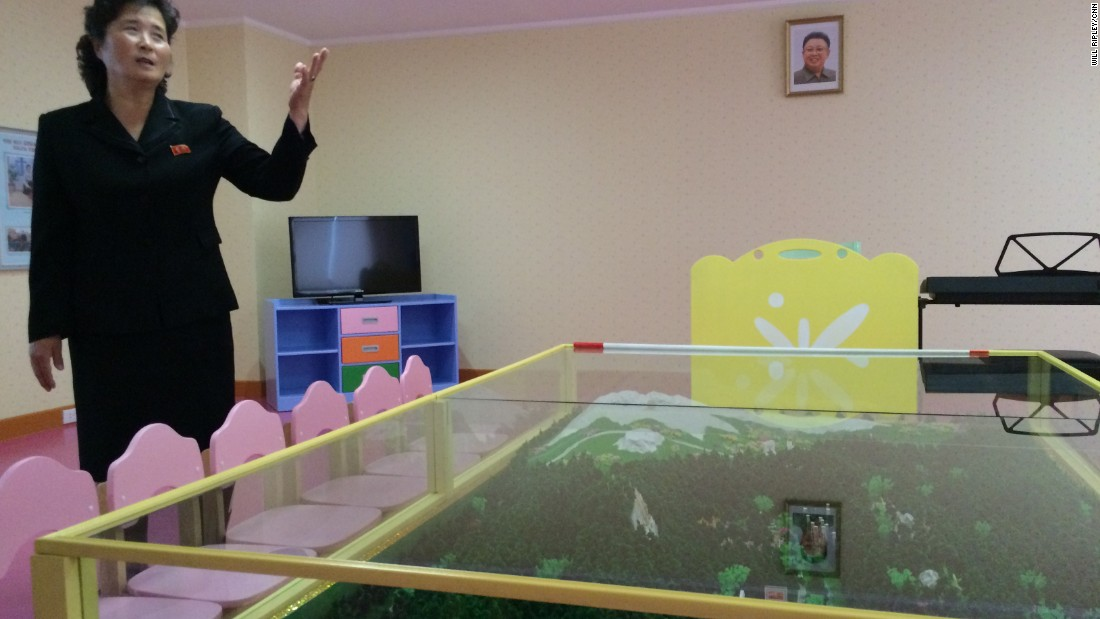 There are rooms within the orphanage dedicated exclusively to teaching the children about the North Korean leaders. This room features a model of Mount Paektu, reportedly the birthplace of the late leader Kim Jong Il, father of the current leader, Kim Jong Un. The younger Kim has visited the orphanage twice.