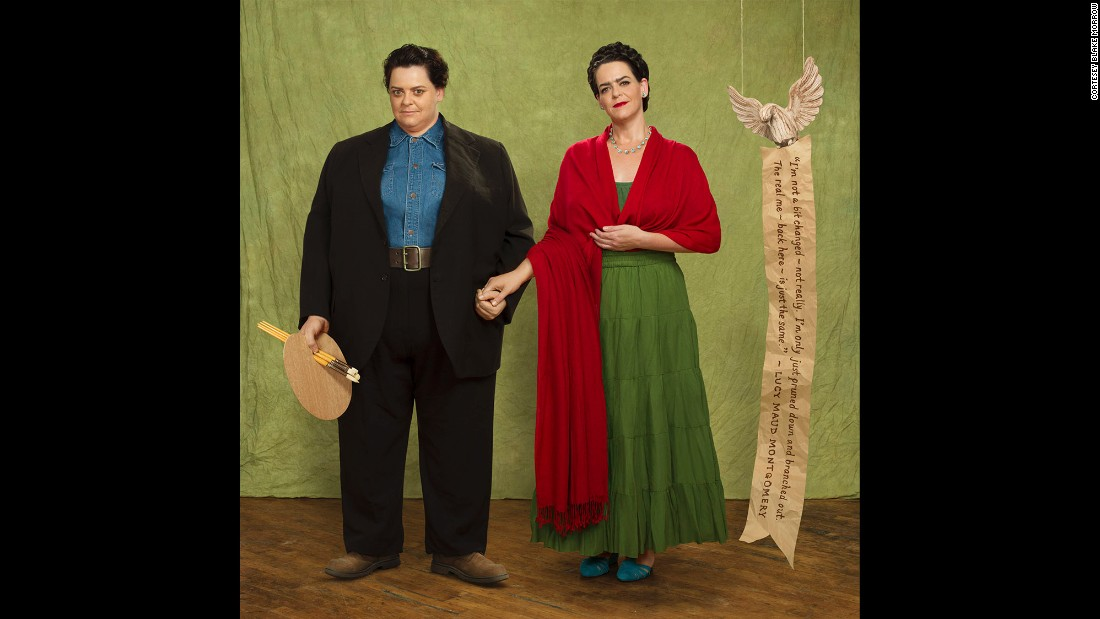 Here Beard poses as both halves of the dynamic husband-and-wife artist partnership Frida Kahlo and Diego Rivera.