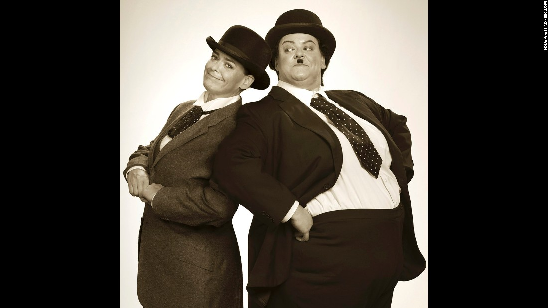 Morrow went old-school with this shot of Beard dressed as comedic duo Laurel and Hardy.
