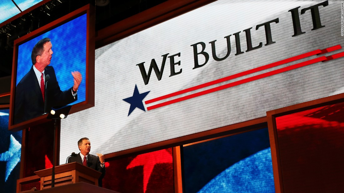 Kasich speaks during the Republican National Convention at the Tampa Bay Times Forum on August 28, 2012, in Florida.