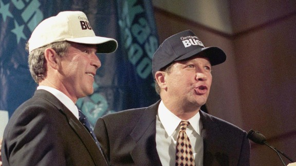 "Kasich, right, then a member of the U.S. House, sports ""Bush"" baseball caps with Texas Gov. George W. Bush on July 14, 1999. The two lawmakers held a news conference at the Ronald Reagan International Trade Center in Washington during Bush"