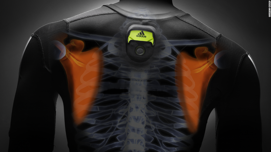 Adidas incorporates smart technology in its miCoach shirts to measure heart rate.