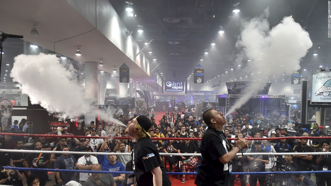 Attendees compete in a vape cloud competition at Vape Summit 3 in Las Vegas on Saturday, May 2.  The event is a trade show for the e-cigarette industry.