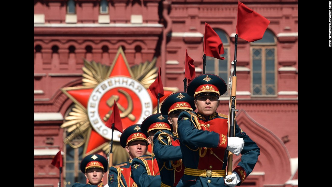 Russian soldiers rehearse for the Victory Day military parade in Moscow's Red Square on Thursday, May 7. Russia will celebrate the 70th anniversary of the 1945 victory over Nazi Germany on May 9.