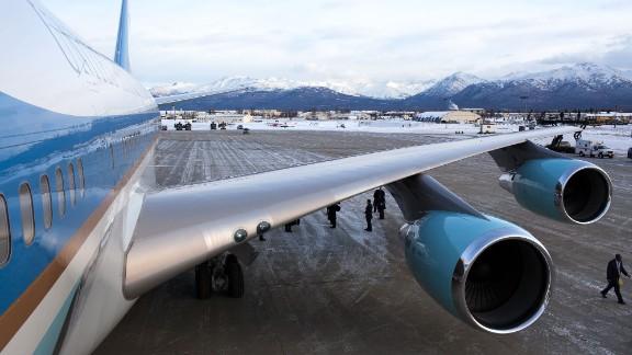 Air Force One refueling at Elmendorf Air Force Base near Anchorage, Alaska, on November 12, 2009.