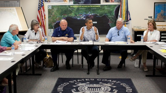 Meeting on the BP oil spill in the Gulf of Mexico, at the Gulfport Coast Guard Station in Mississippi on June 14, 2010.
