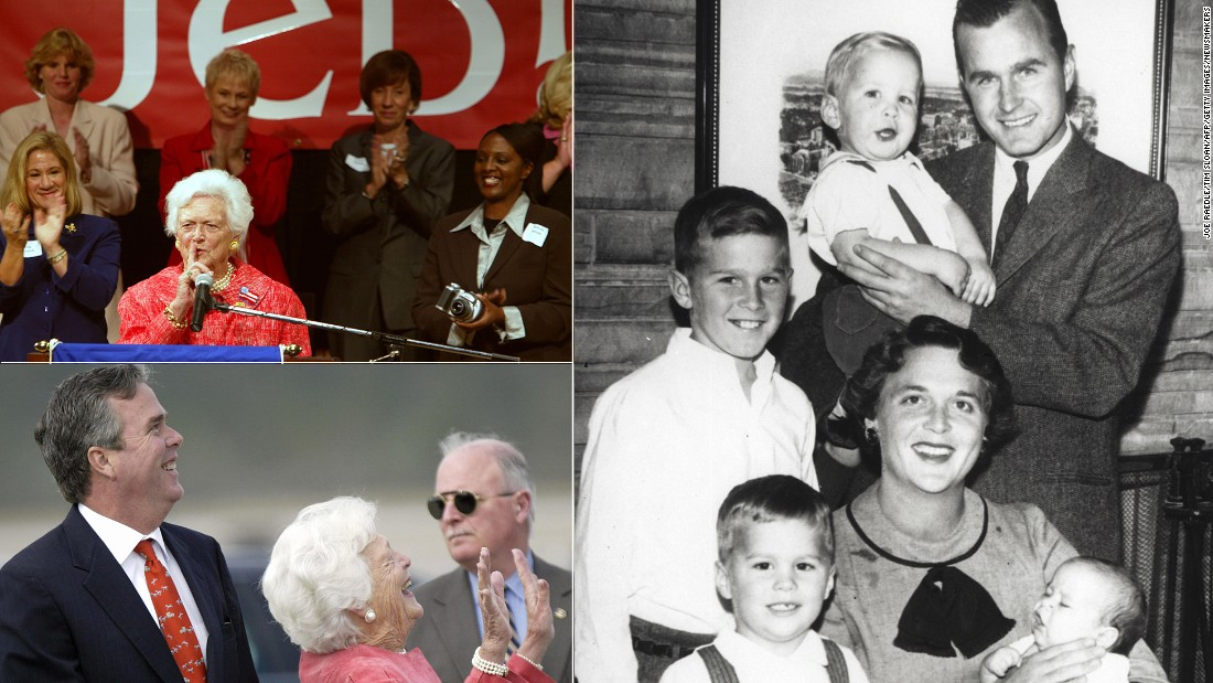 "Barbara Bush has always been an advocate for her younger son, Jeb. But amid speculation that he might run for president, the former first lady said, ""There are other people out there that are very qualified and we've had enough Bushes."" But in February 2015 she changed her mind, calling into one of her son's fundraisers: ""Just listening in. Anyway ... what do you mean too many Bushes? ... I've changed my mind."""