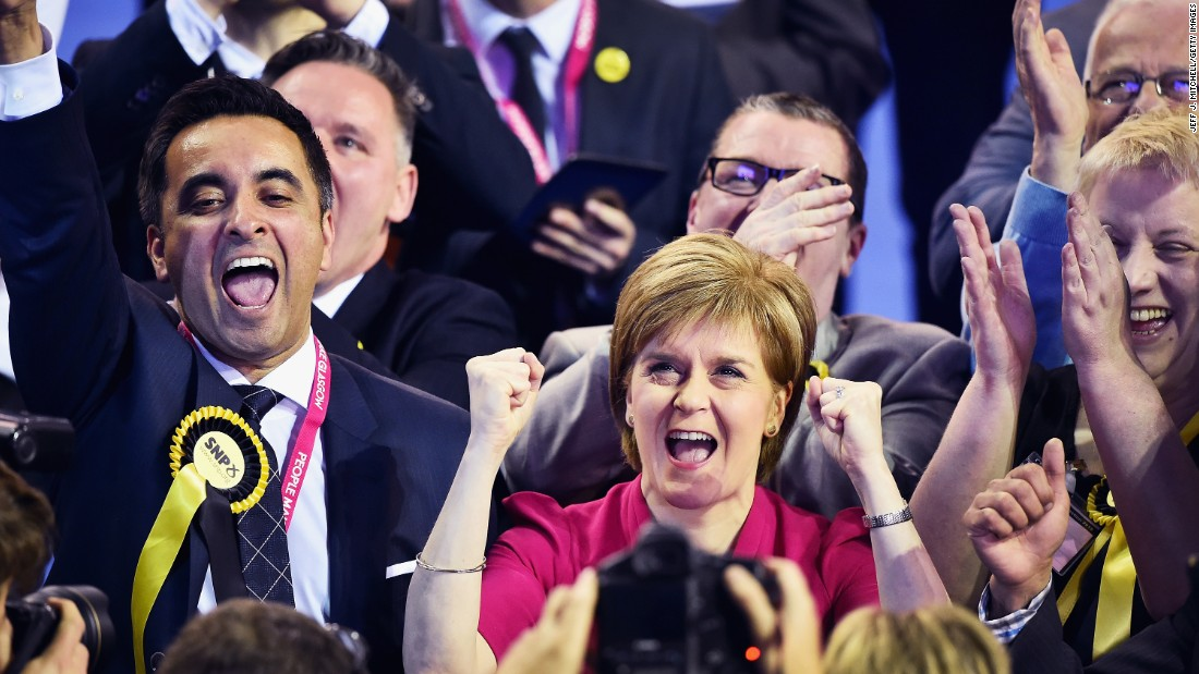Scottish National Party leader Nicola Sturgeon, center, celebrates as elections results come in for her party in Glasgow, Scotland, on May 8. The surprisingly strong showing by Sturgeon's party could fuel a fresh push for Scottish independence.