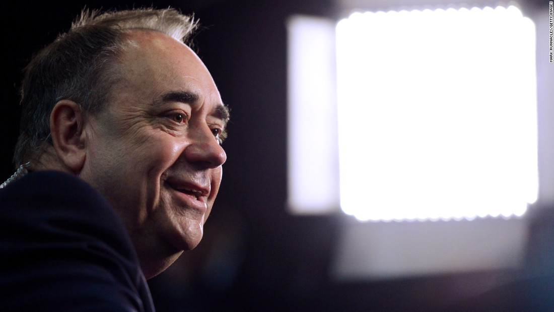 "Scottish National Party (SNP) candidate and former First Minister Alex Salmond conducts a television interview May 8 in Aberdeen, Scotland. Salmond called the results an ""electoral tsunami"" in Scotland -- a swing in votes from Labour to the SNP."