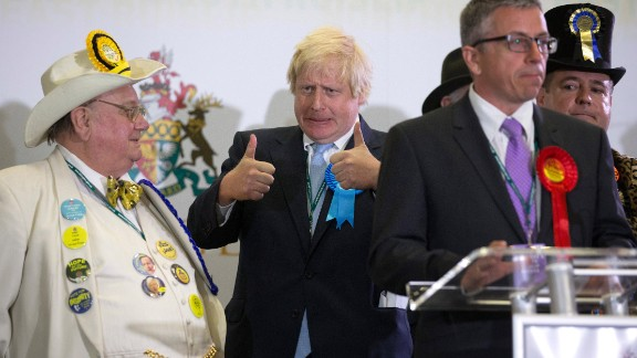 Boris Johnson, newly elected Conservative Party MP for Uxbridge and Ruislip South, gives a thumbs-up at Brunel University in London on May 8.