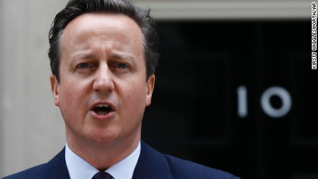 Britain's Prime Minister David Cameron speaks to the media outside 10 Downing Street in London, Friday, May 8, 2015. Cameron's Conservative Party swept to power Friday in Britain's Parliamentary General Elections, winning an unexpected majority.  (AP Photo/Kirsty Wigglesworth)