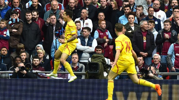 Coutinho celebrates his goal at Wembley. The Brazilian will be hoping his goals next year can fire Liverpool to some silverware.