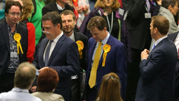 Liberal Democrat leader and Deputy Prime Minister Nick Clegg looks dejected as he attends his constituency declaration on May 8.