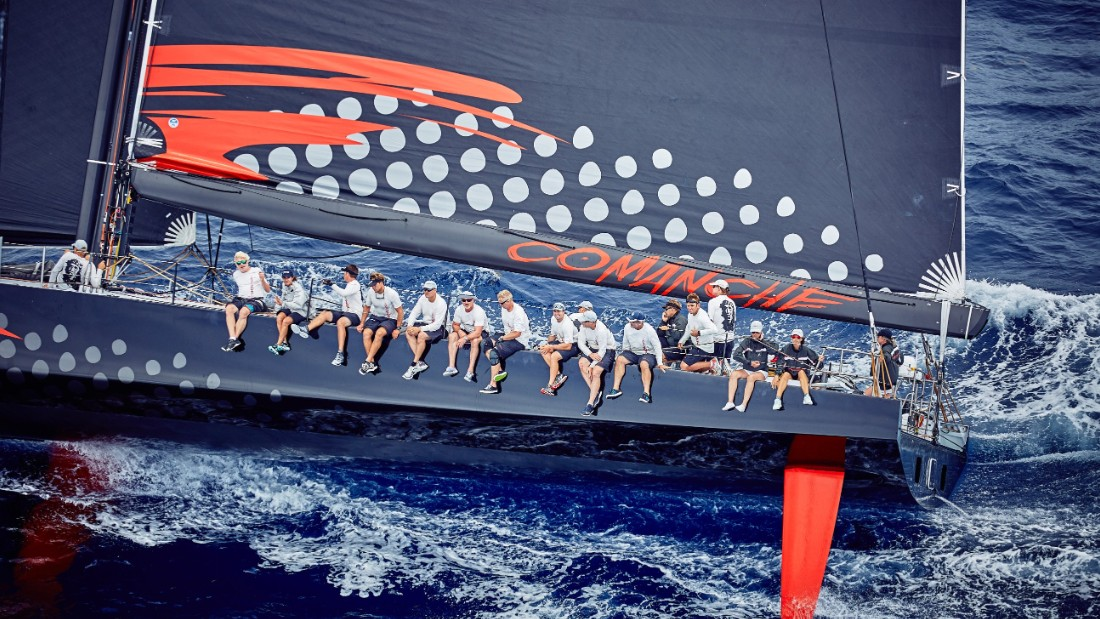 Comanche has its 150-foot mast further back than any other monohull craft -- its designers found that this aids balance.