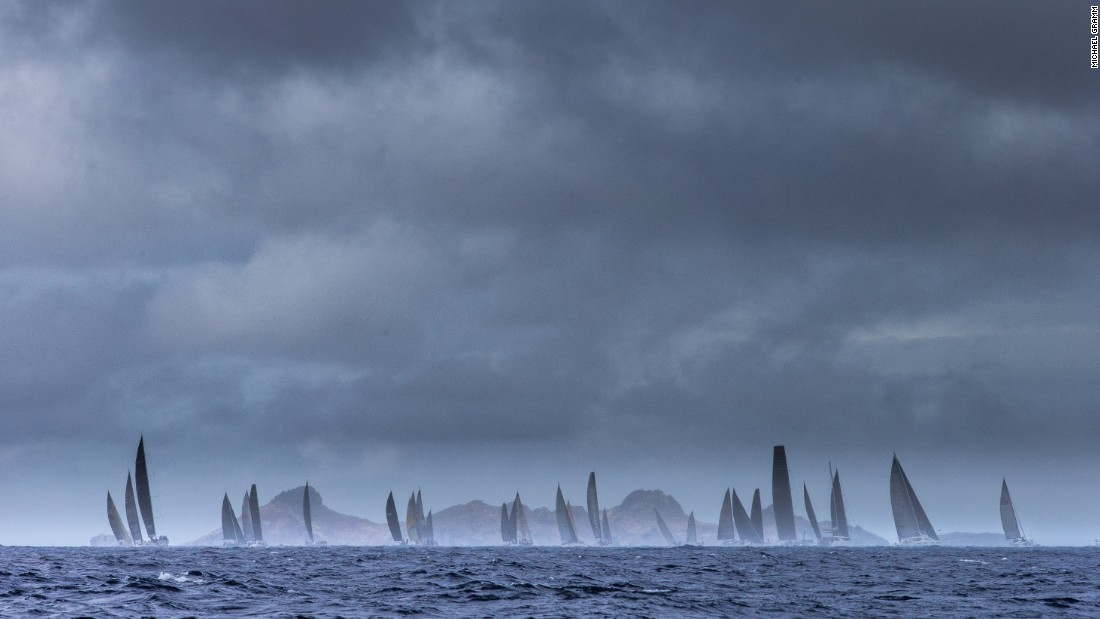 Yachts -- and clouds -- gather as racing draws to a close.