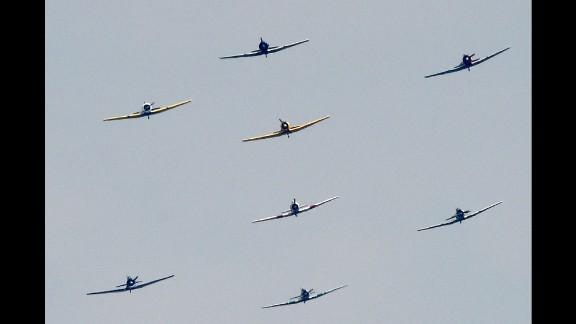 More than two dozen planes flew over Washington
