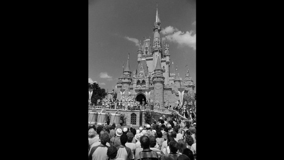 A crowd in Orlando waits for Walt Disney World