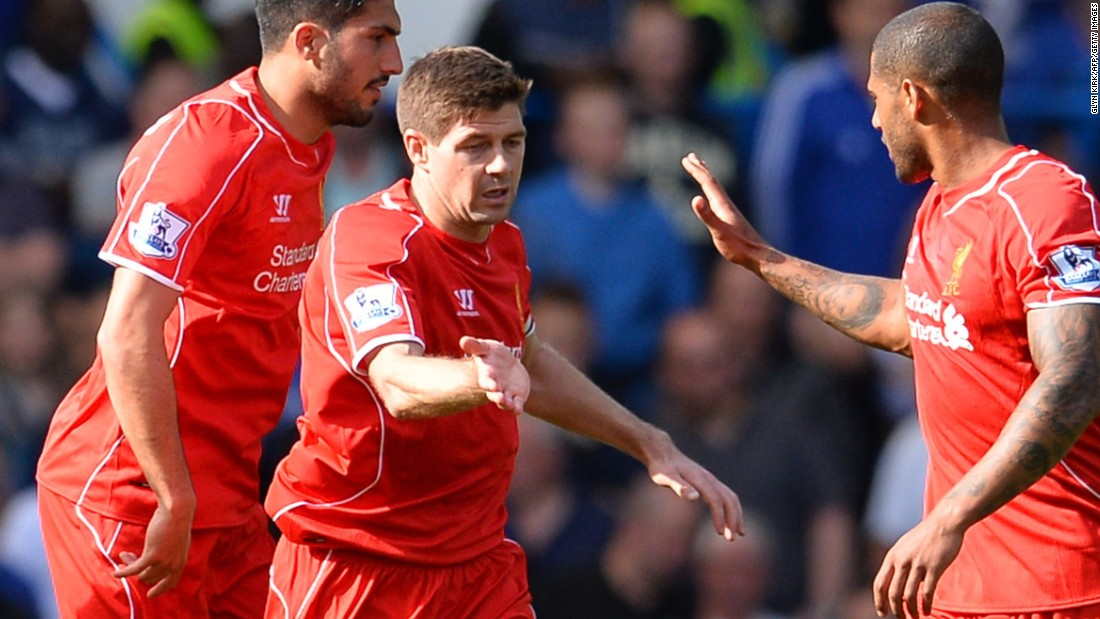 Steven Gerrard is congratulated by teammates after scoring Liverpool's equalizer at Stamford Bridge.