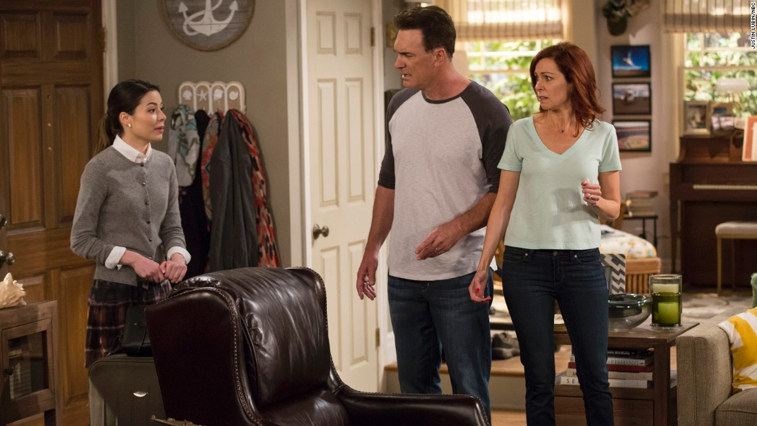 "After its last season of sitcoms failed to take off, NBC is trying out ""Crowded"" with Miranda Cosgrove, from left, Patrick Warburton and Carrie Preston."