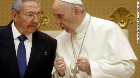 Pope Francis, right, talks with Cuban President Raul Castro during a private audience at the Vatican on May 10, 2015. Cuban President Raul Castro arrived at the Vatican on Sunday to thank Pope Francis for his role in brokering the rapprochement between Havana and Washington. The first South American pope played a key role in secret negotiations between the United States and Cuba that led to the surprise announcement in December that they would seek to restore diplomatic ties after more than 50 years of tensions.