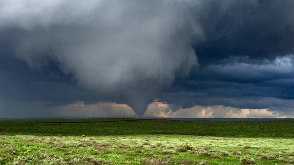 A tornado forms near Eads, Colorado on Saturday, May 9.