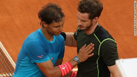 Andy Murray is congratulated by the beaten Rafael Nadal after winning the Masters 1000 event in Madrid.