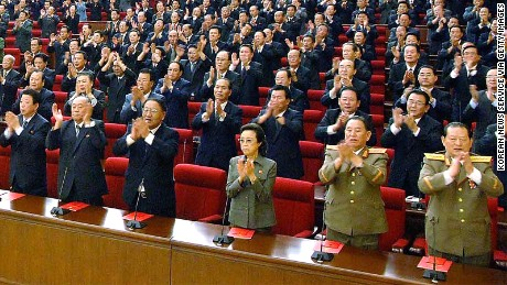PYONGYANG, NORTH KOREA - SEPTEMBER 28: (JAPAN OUT) In this photo released by Korean Central News Agency via Korean News Service, Workers' Party of Korea delegates including Kim Kyong-Hui (3rd R in the front row), who is sister of leader Kim Jong-Il and was appointed as a military general, attend the party convention on September 28, 2010 in Pyongyang, North Korea. North Korean leader Kim was re-appointed as the party's secretary general and has made a military general of Kim Jong-Un, believed to be his third son. (Photo by Korean News Service via Getty Images)