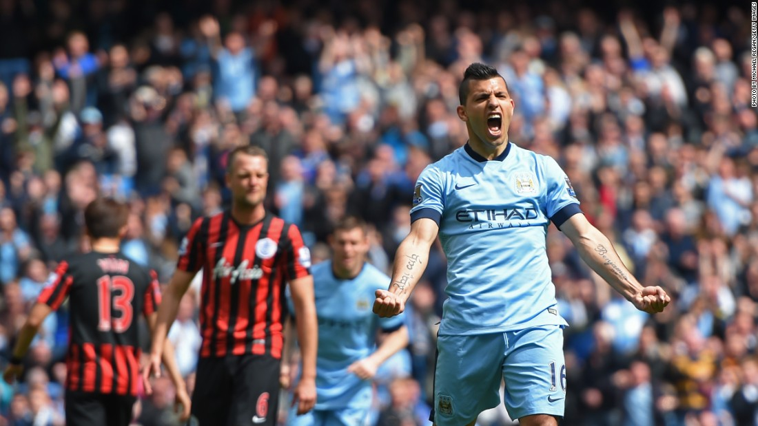 Sergio Aguero celebrates scoring a penalty to complete his hat-trick in his team's 6-0 thrashing of QPR.