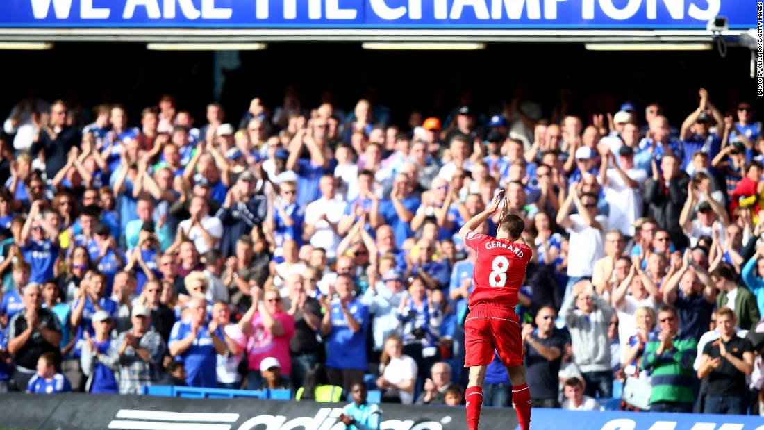 Described by Chelsea manager Jose Mourinho as a 'dear enemy', Liverpool midfielder Steven Gerrard is given a standing ovation by the English Premier League champions' fans on his last ever appearance at the London club's Stamford Bridge ground.