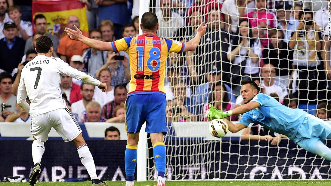 "Cristiano Ronaldo sees his penalty saved by Valencia keeper Diego Alves in Real Madrid's 2-2 draw. It was a miss that kept that the Real <a href=""http://edition.cnn.com/2015/04/20/football/messi-ronaldo-goal-count/index.html"">forward on 54 goals for the season.</a>"