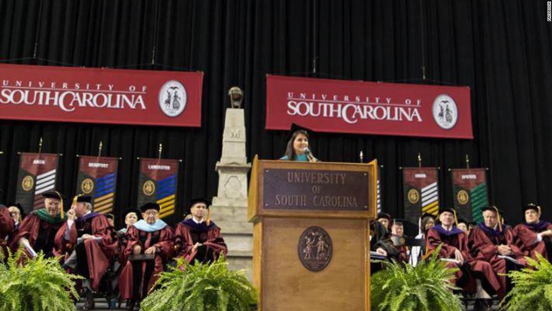 South Carolina Gov. Nikki Haley delivered a commencement address at the University of South Carolina in Columbia on May 8.